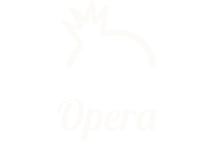 White logo showing a pomegranate behind the words 'Pomegranate Opera'.